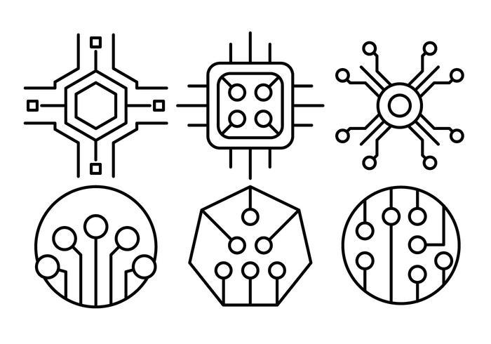 Gratis Lineaire Computer Chip Pictogrammen vector