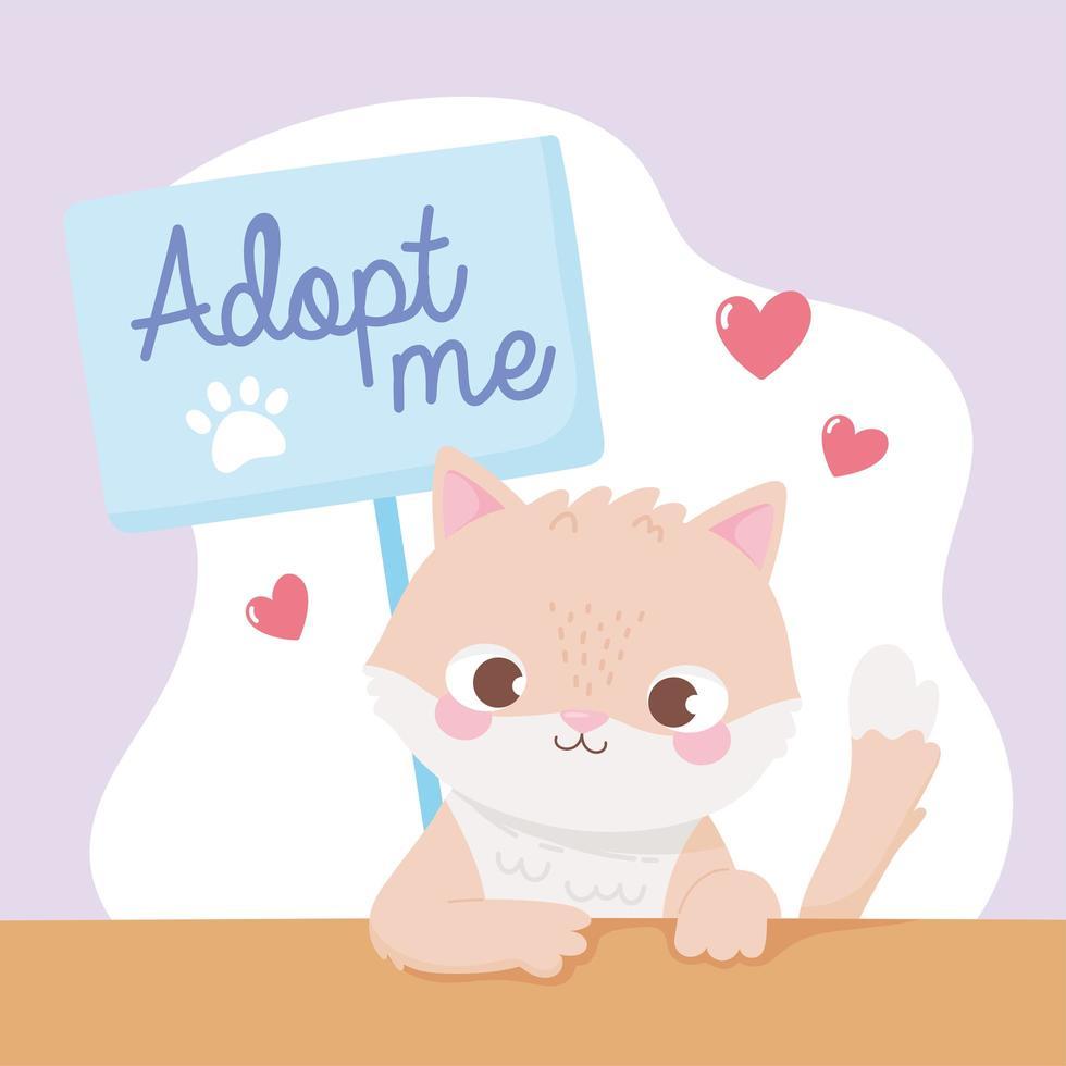 adoptie van huisdieren met schattige kleine kitten vector