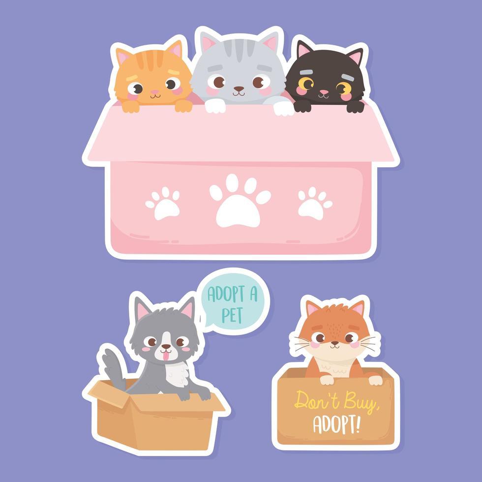 adoptie van huisdieren met schattige dieren en adoptieborden vector