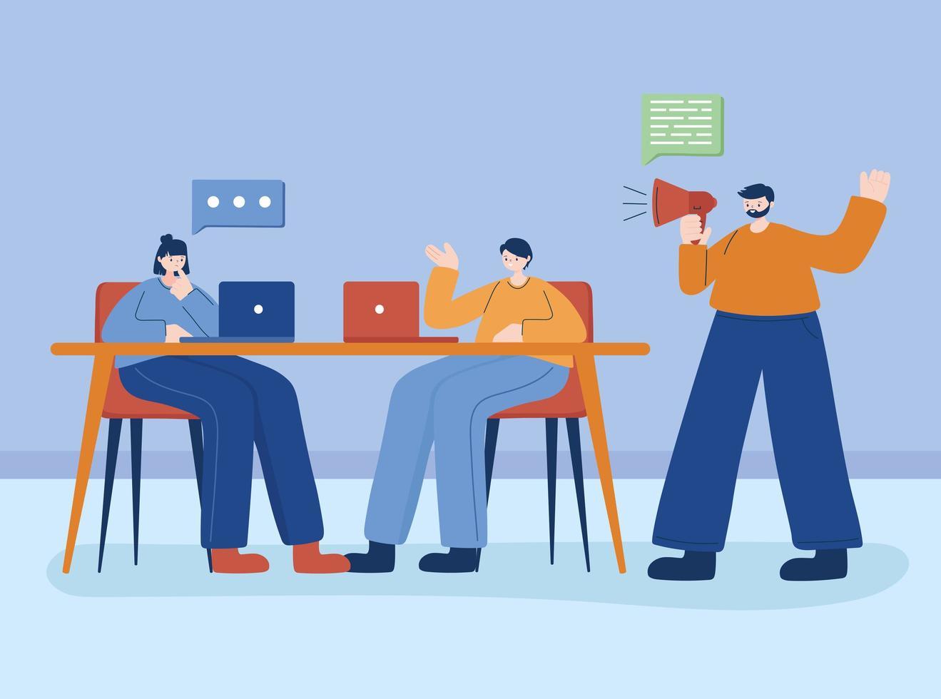 jongeren die aan hun elektronische apparaten werken vector