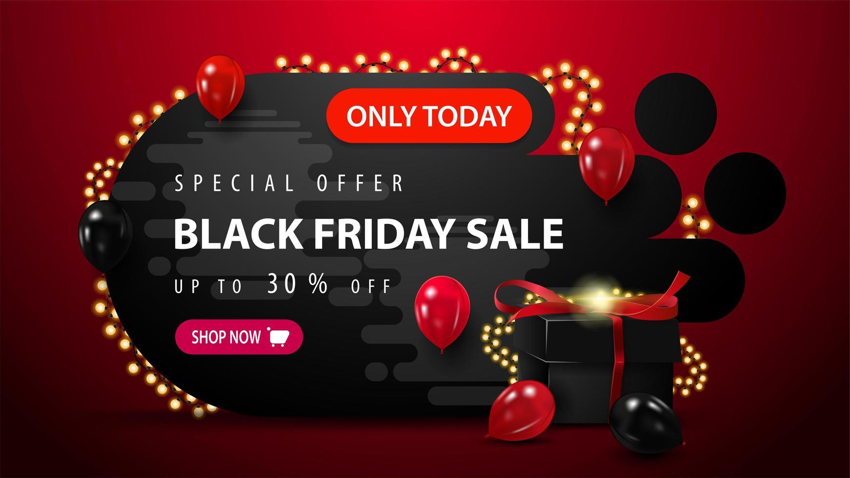 Black Friday-uitverkoop, tot 30 korting op banner vector