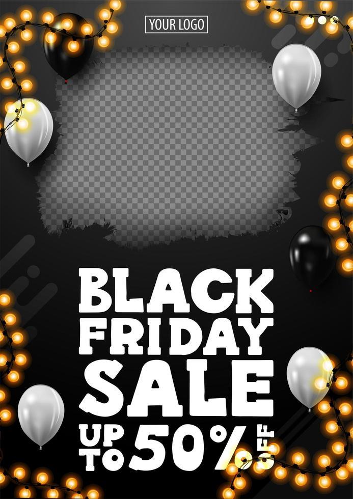 Black Friday-uitverkoop, tot 50 korting op banner vector