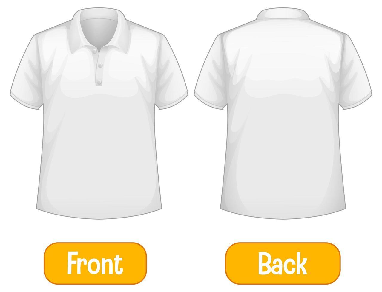 tegenovergestelde woorden met voor- en achterkant van shirt vector