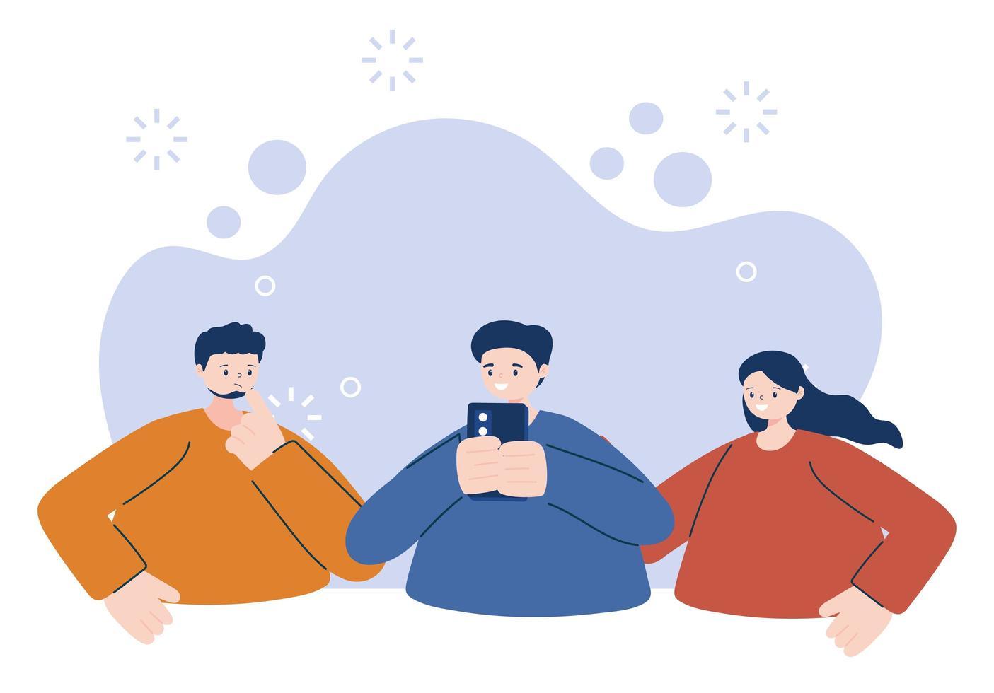 jongeren met smartphone vector