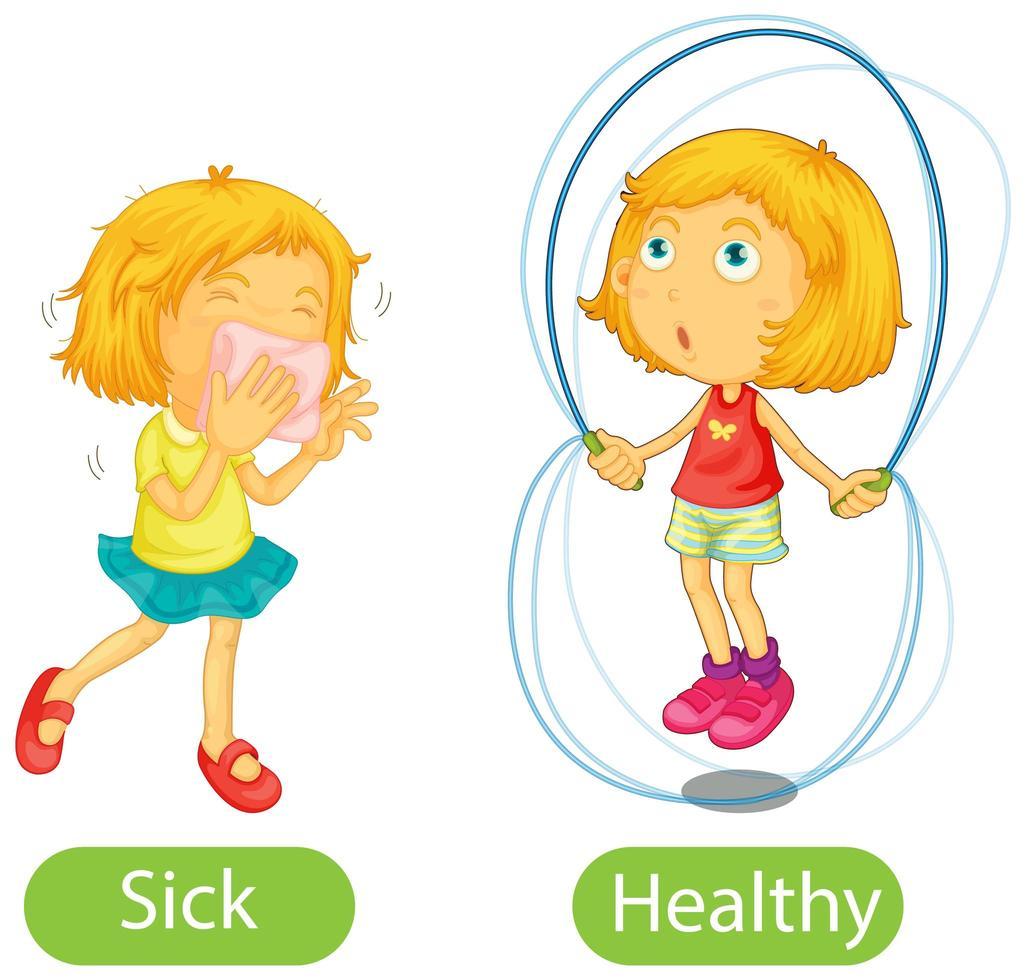 tegenovergestelde woorden met ziek en gezond vector