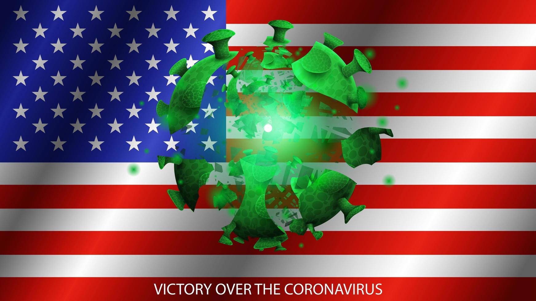 coronavirus op de achtergrond van de vlag van de vs vector