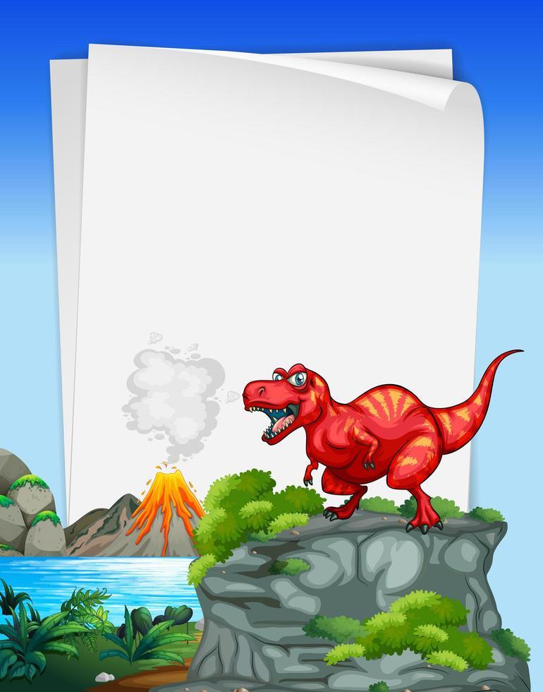 een dinosaurusbannermalplaatje in natuurtafereel vector