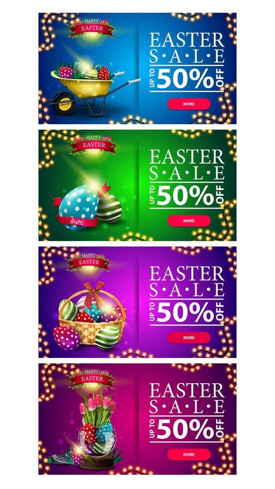 reeks kleurrijke kortingsbanners met Pasen-symbolen vector