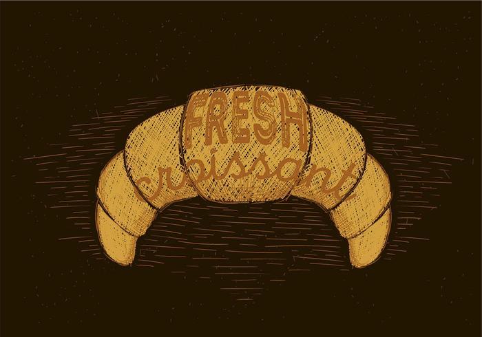 Vrije Hand Getekende Vector Croissant Illustratie