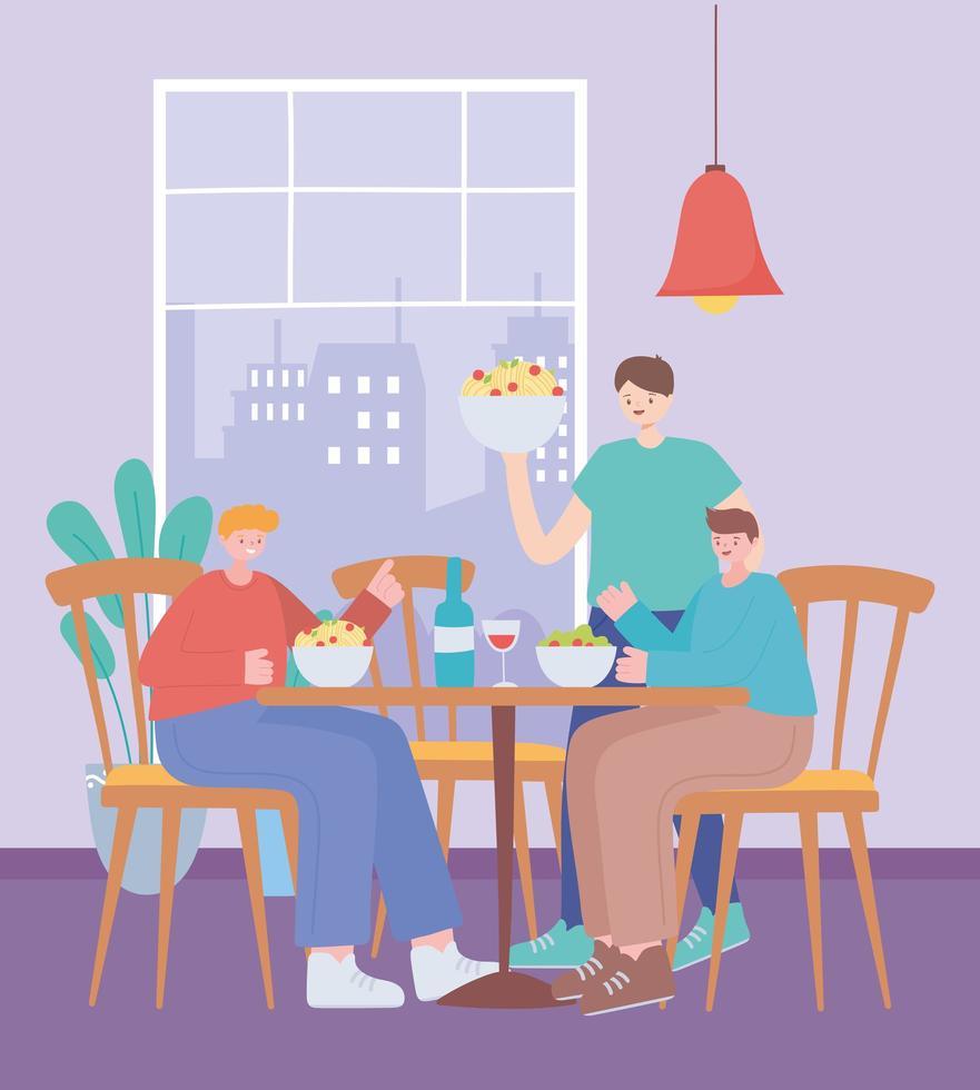 restaurant over coronaviruspreventie met sociaal diner vector