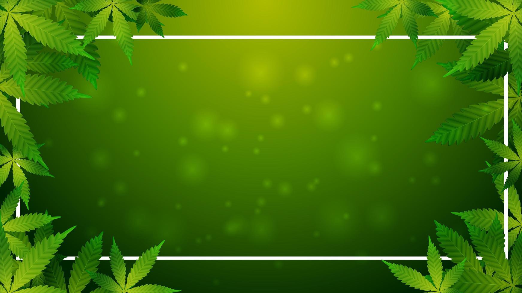 groene sjabloon met een frame van cannabisbladeren vector