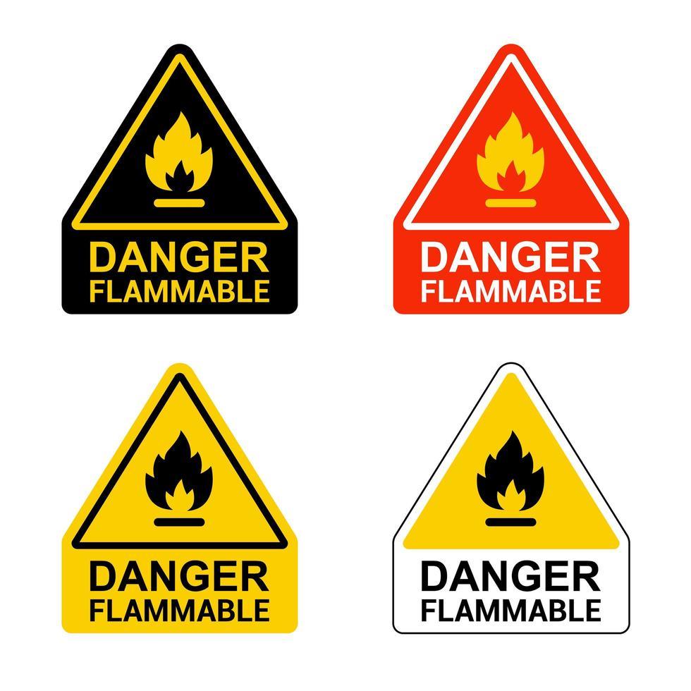 set gevaar ontvlambare stickers vector