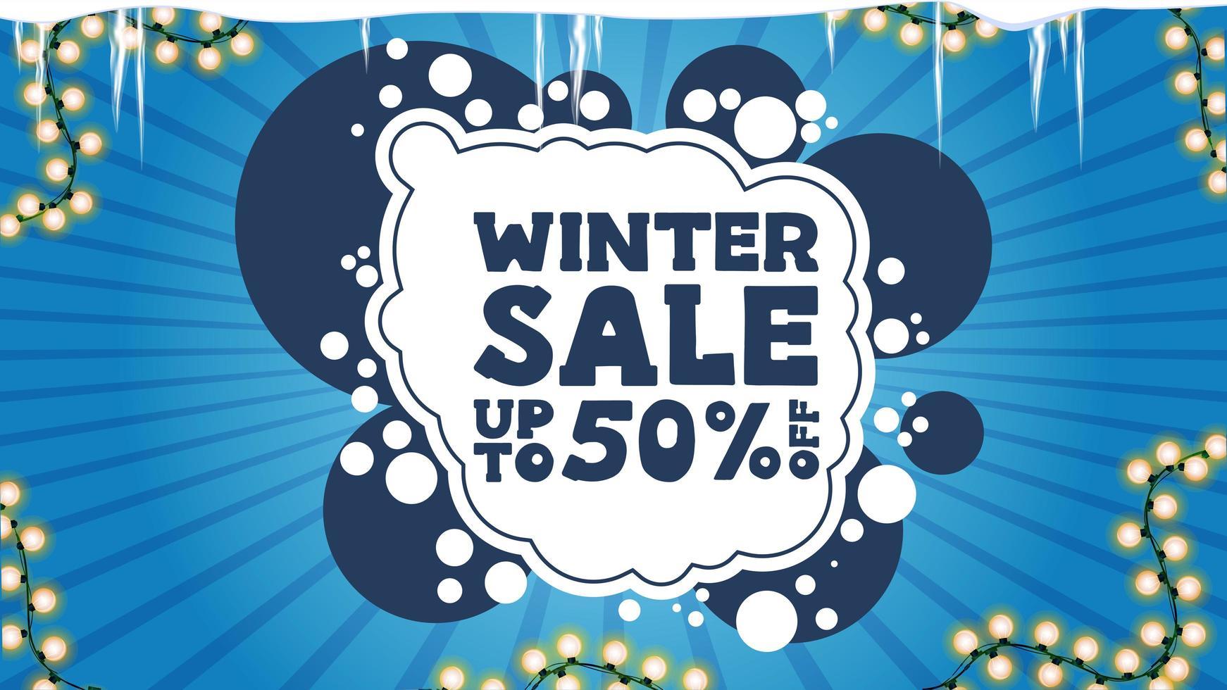 winteruitverkoop, kortingsbanner met slinger en ijspegels vector