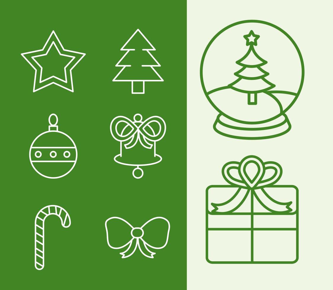 Kerst lijn pictogramserie vector