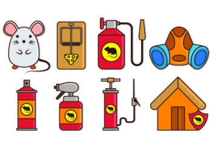 Pest Control en Mouse Trap Icons vector