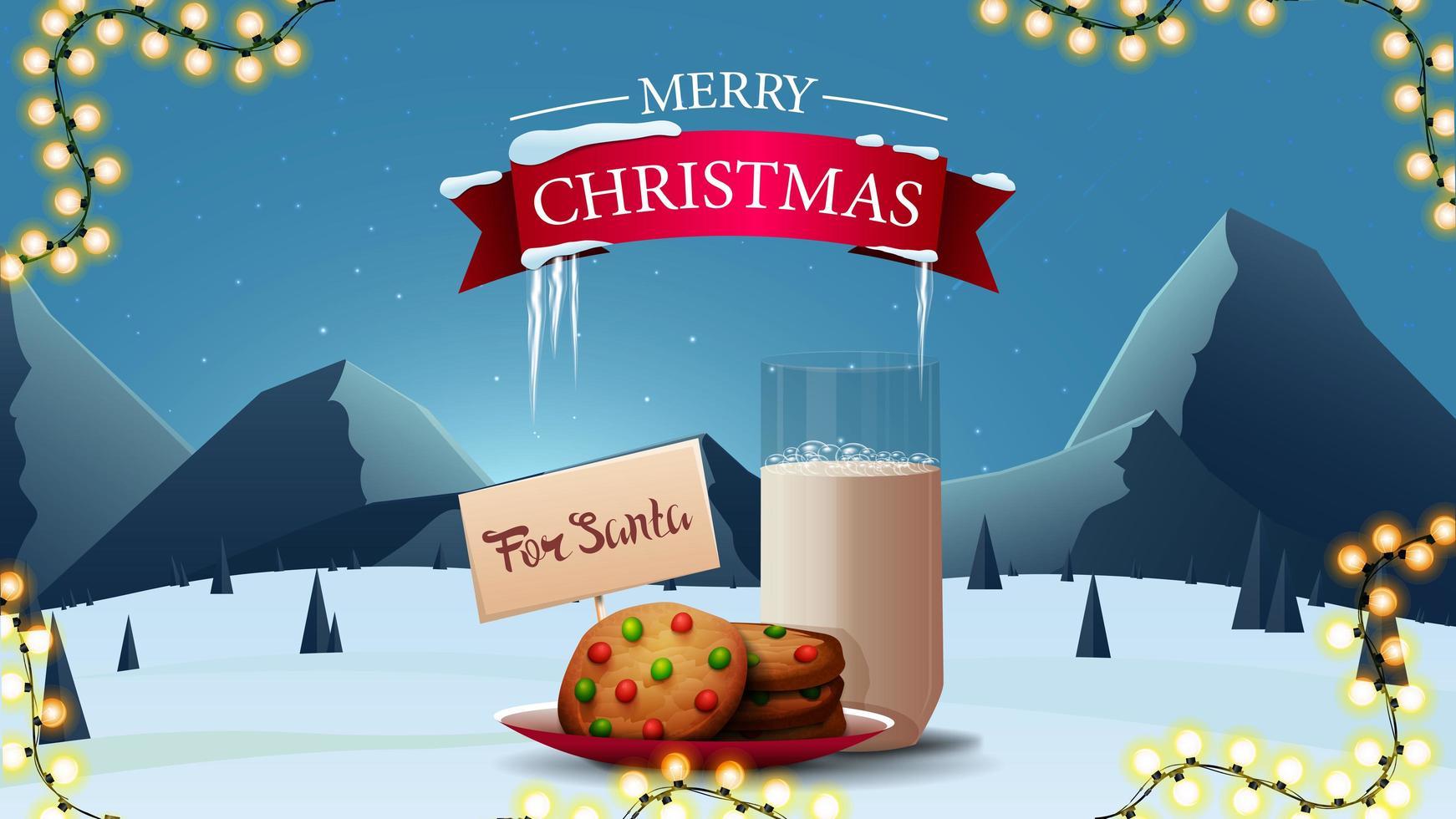 vrolijk kerstfeest, wenskaart met koekjes met melk vector
