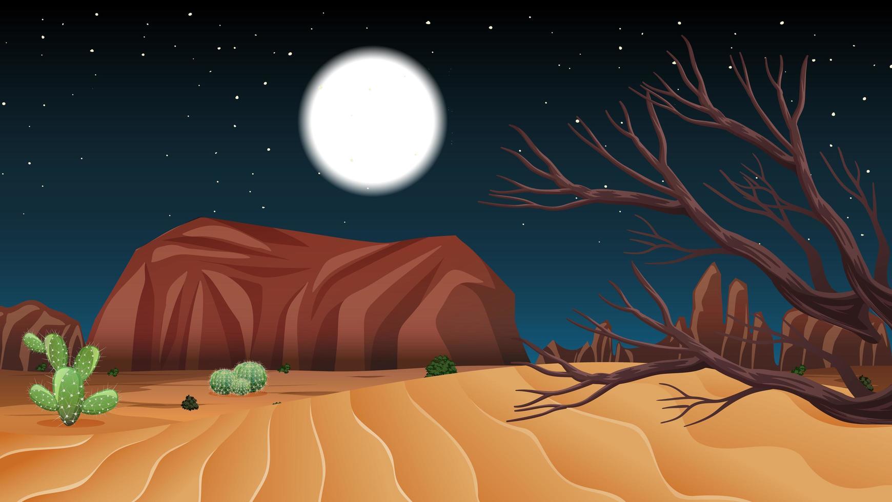 wild woestijnlandschap bij nachtscène vector