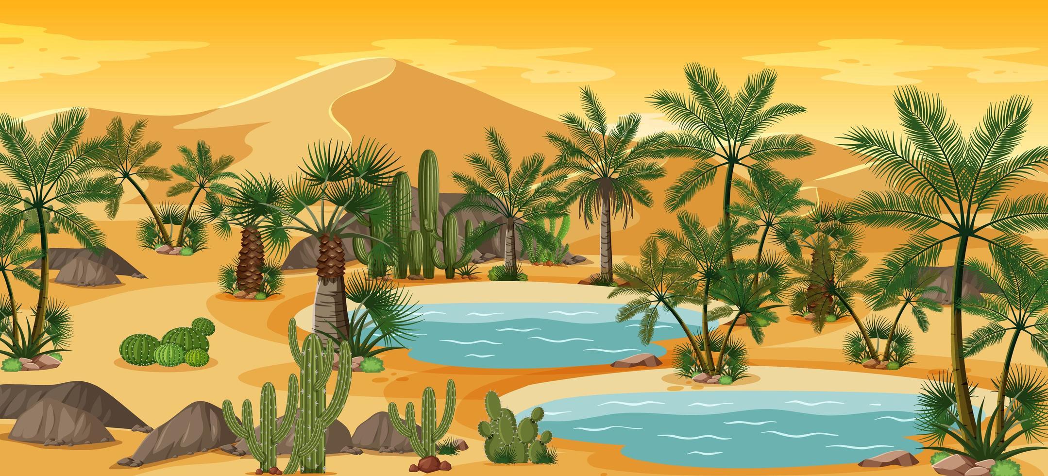 woestijnoase met palmen en catus natuurlandschapsscène vector