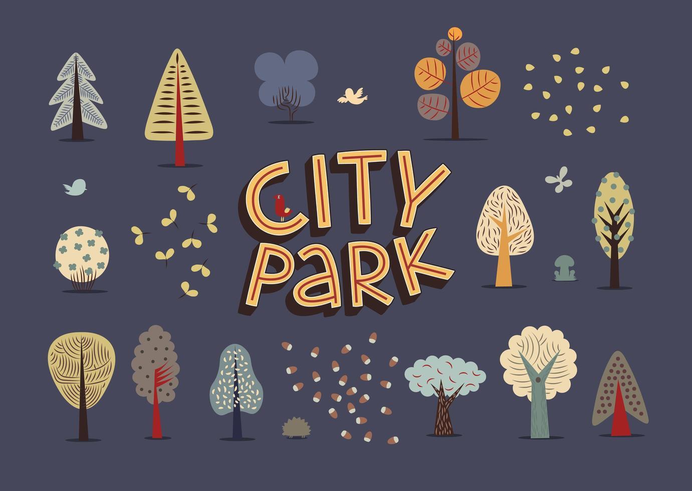 stadspark donkere set vector