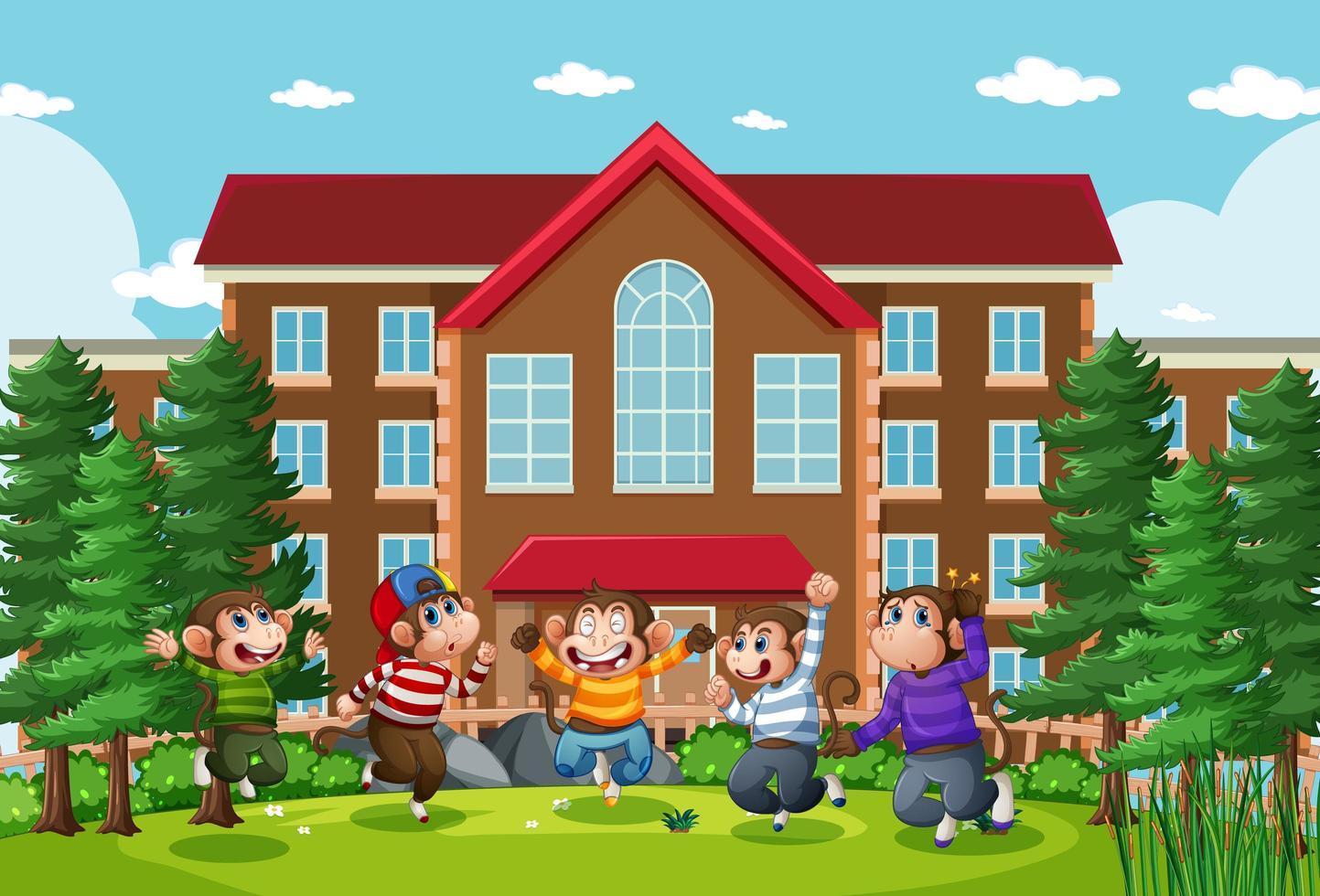 vijf kleine apen die in de scène van de parkschool springen vector