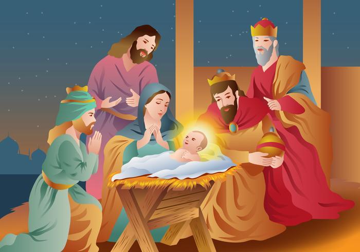 Kerst Religieuze Gelukkige Epifanie vector