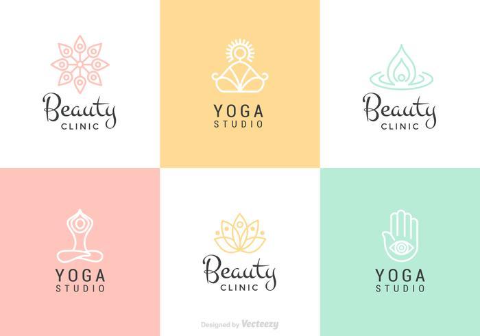 Schoonheid En Yoga Vector Logo Set