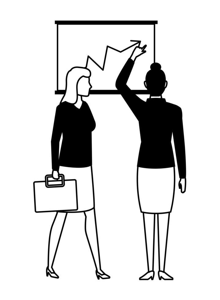 zakenvrouwen stripfiguur in zwart-wit vector