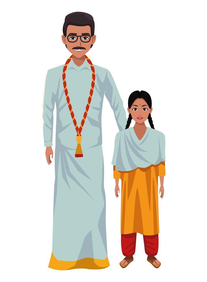 Indiase familie stripfiguren vector