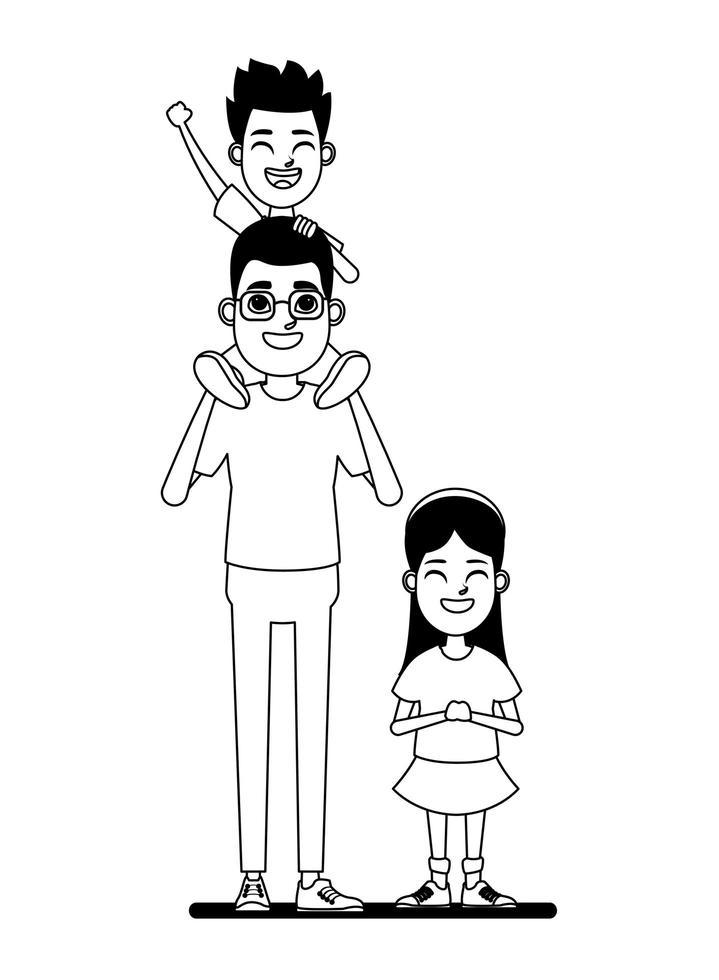 familie stripfiguren portret in zwart en wit vector