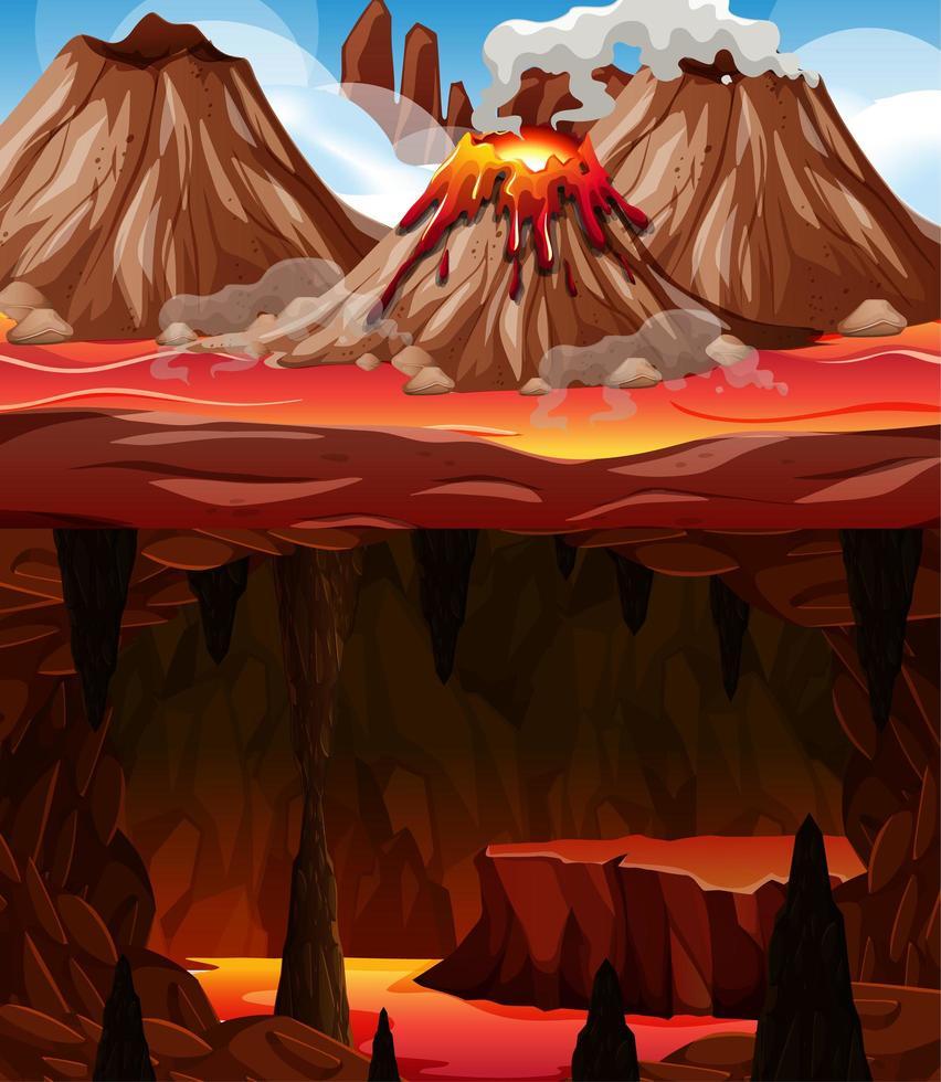 helse donkere grot met lavascène vector