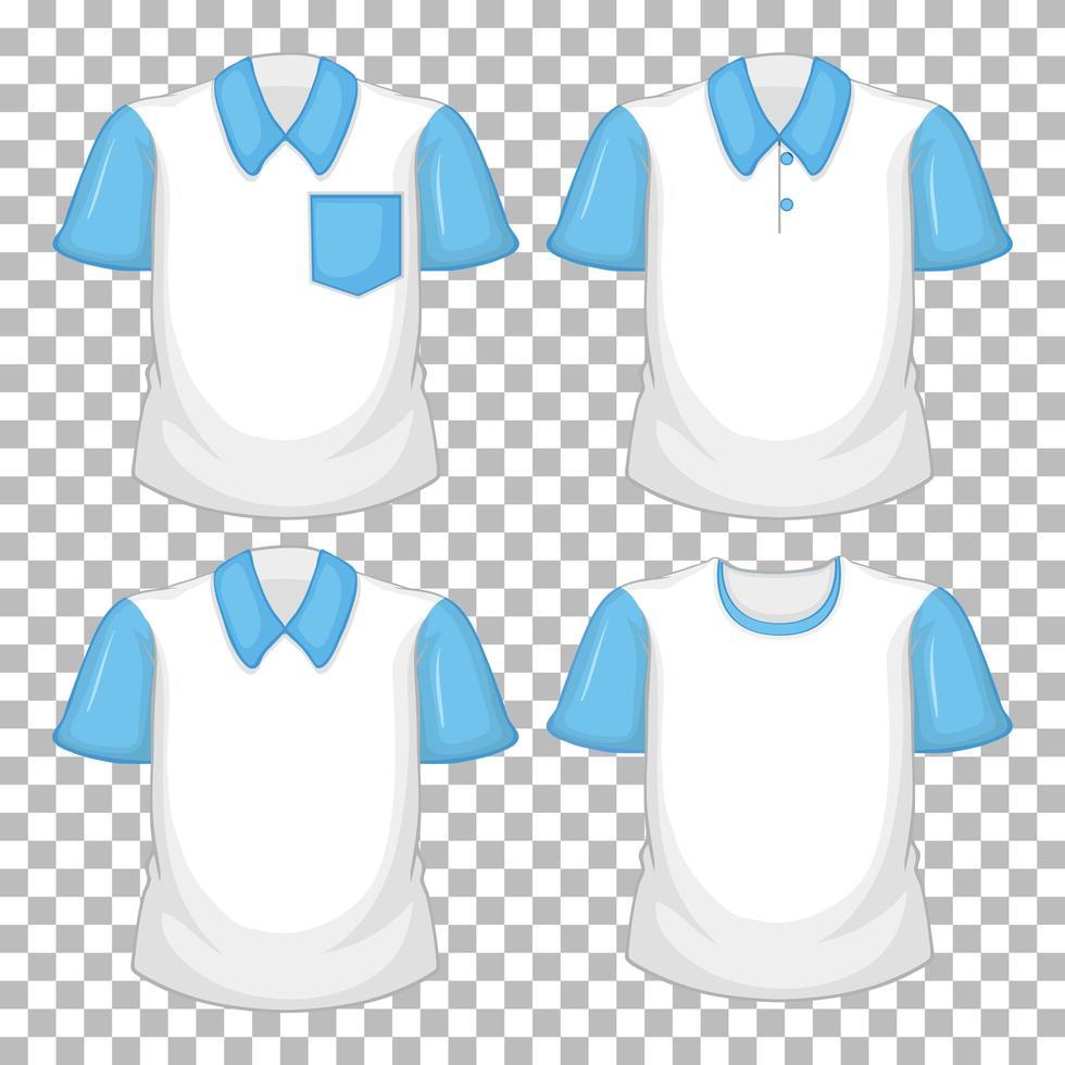 aantal verschillende shirts met blauwe mouwen geïsoleerd op transparante achtergrond vector
