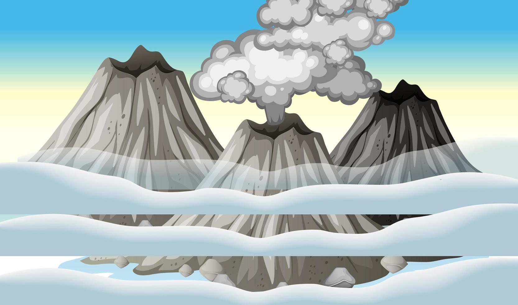 vulkaanuitbarsting in de lucht met wolkenscène overdag vector