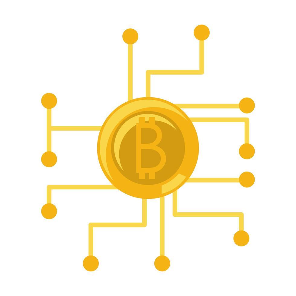 bitcoin cryptocurrency en digitaal geld pictogram vector