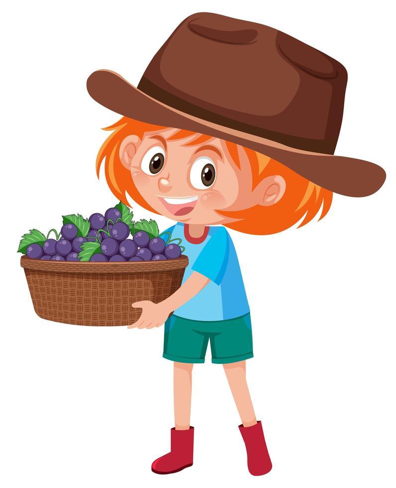 kinderen meisje met fruit of groenten op witte achtergrond vector