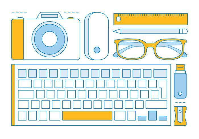 Gratis Lineaire Office Tools Elementen vector