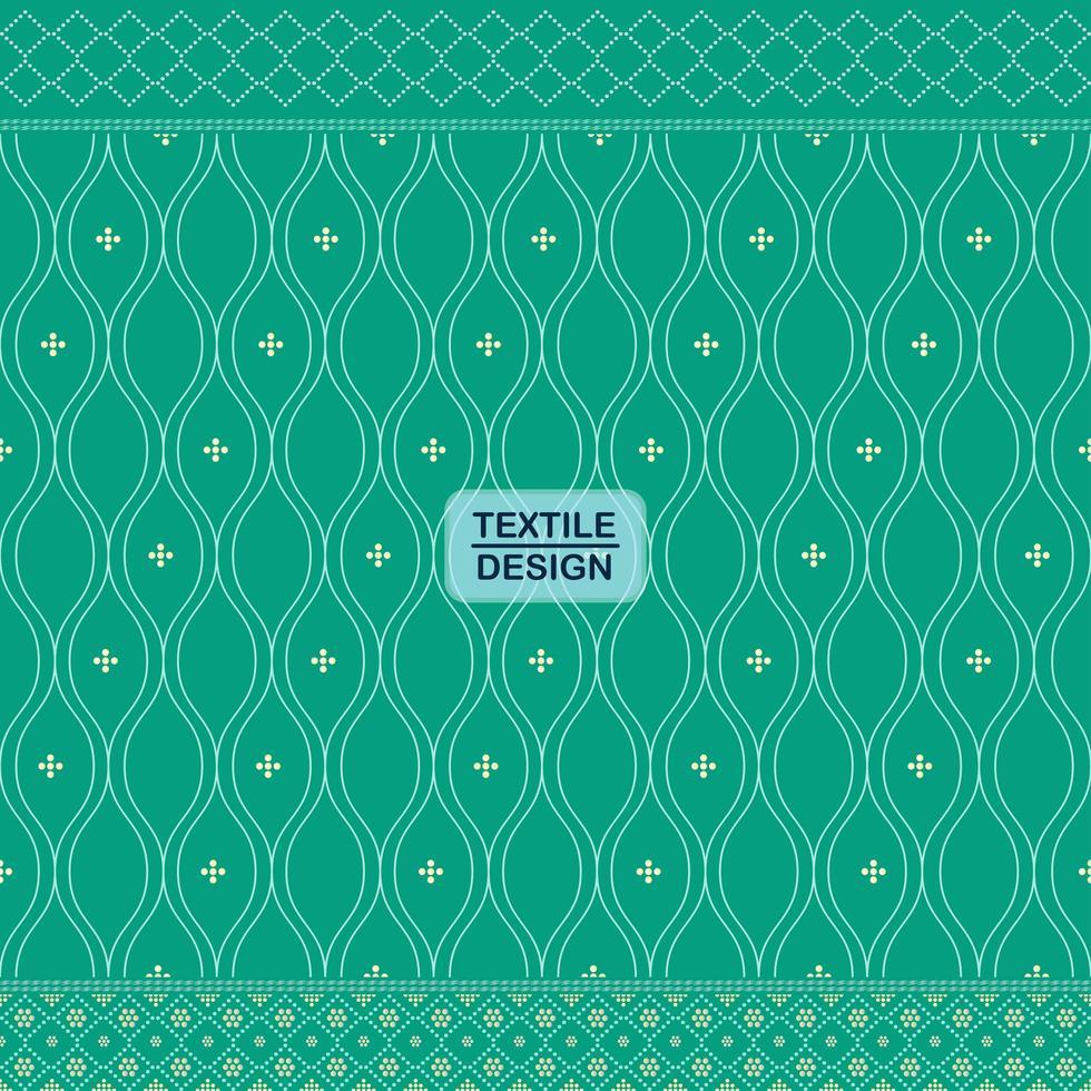 groen naadloos traditioneel textiel bandhani sari grenspatroon vector