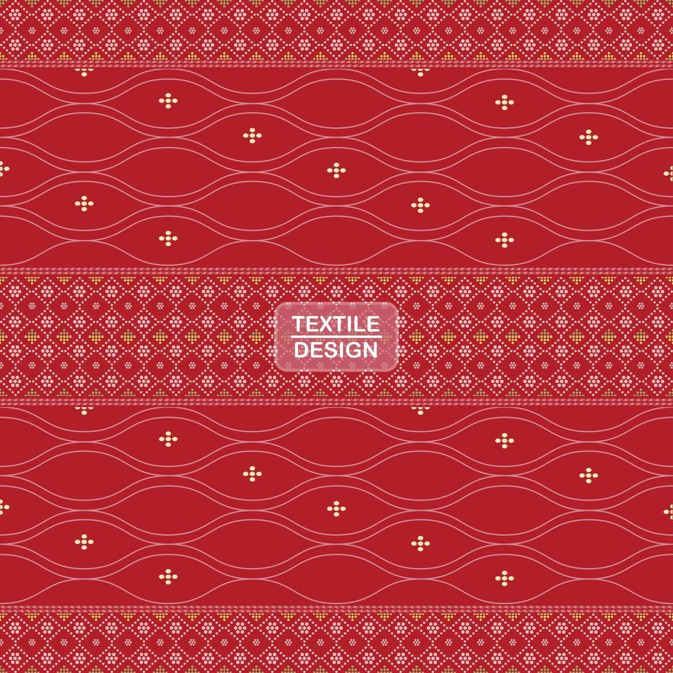 naadloze traditionele textiel bandhani sari grenspatroon vector
