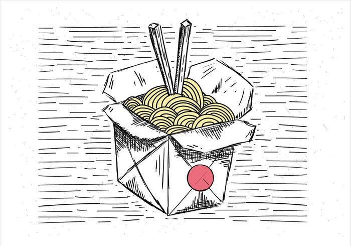 Vrije Hand Getekende Vector Chinese Food Illustratie