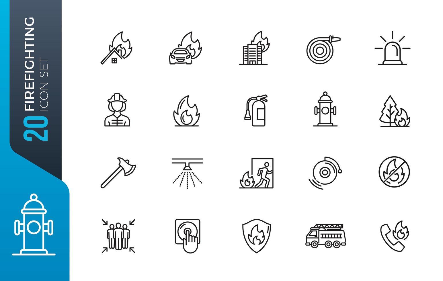 set van brandweerman lijn iconen vector