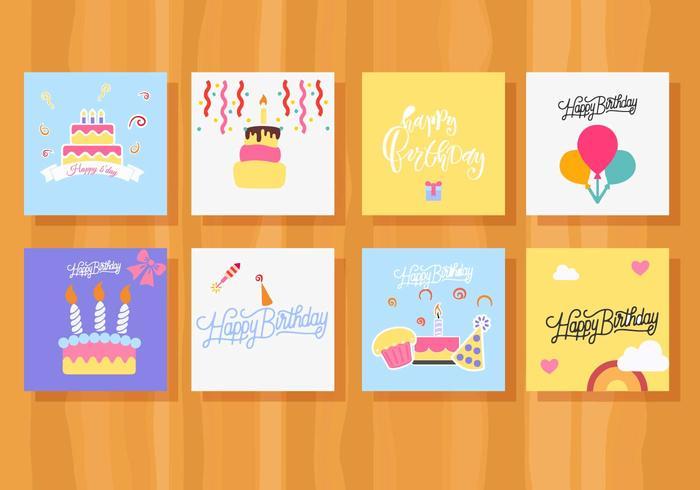 Gratis Verjaardagskaart Verzameling Vector