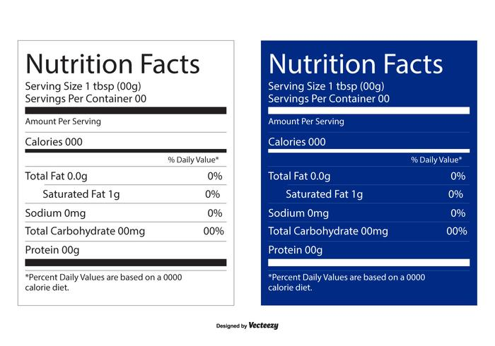 Nutrition Facts Editable Labels vector