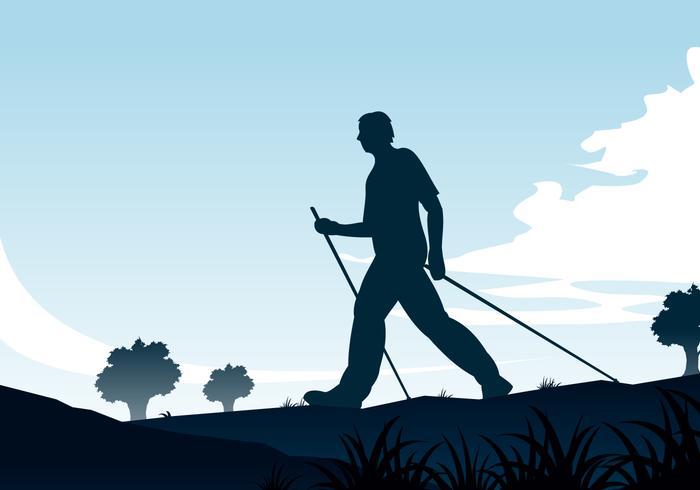 Nordic Walking Silhouette Gratis Vector
