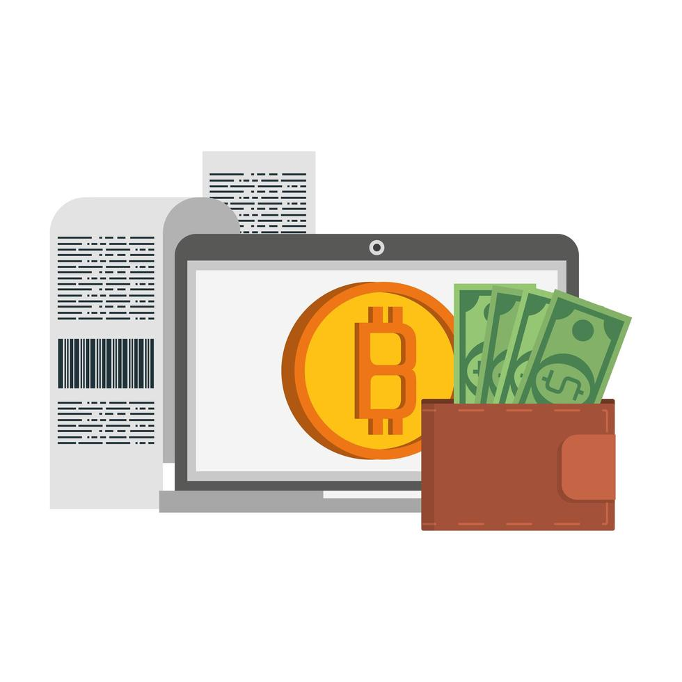 bitcoin cryptocurrency digitale geldsymbolen vector