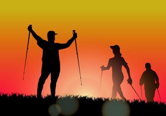 Wandelen bij Sunset Silhouette Vector