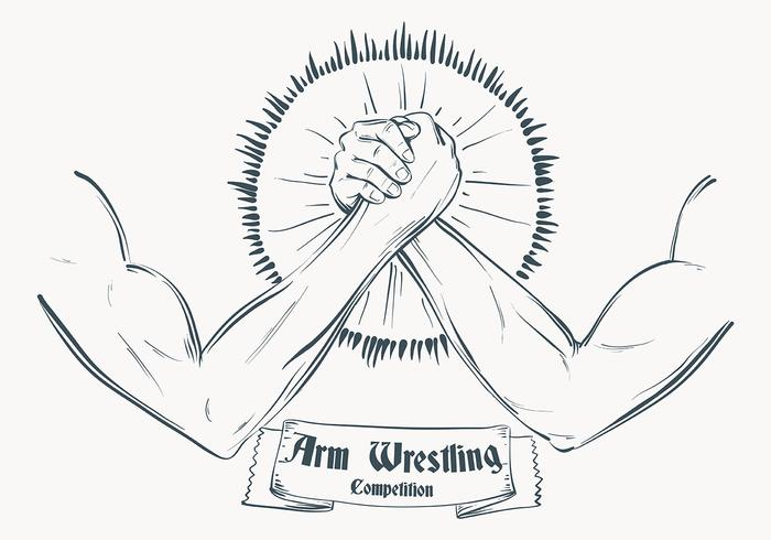 Schetched Arm Wrestling Illustratie Sjabloon vector