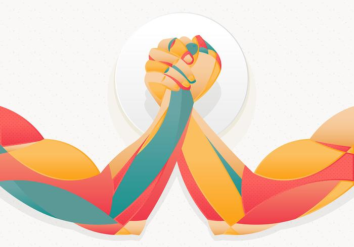 Arm Wrestling Illustratie Sjabloon vector