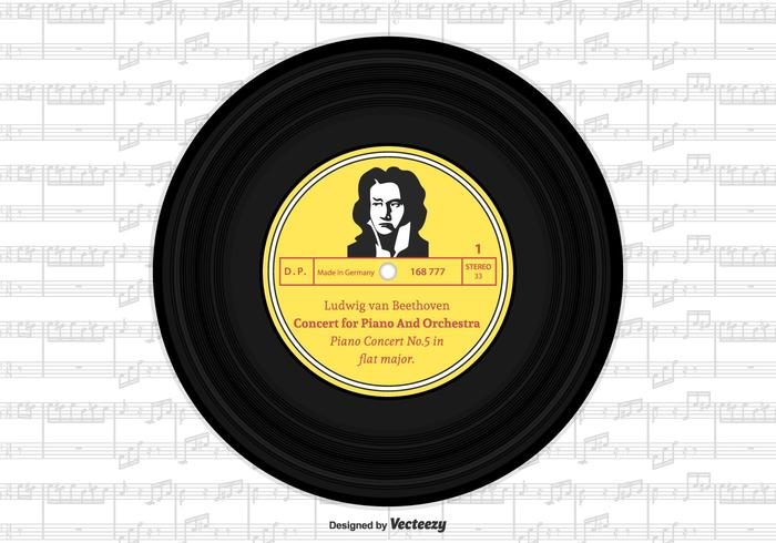 Beethoven vinyl single record vector design