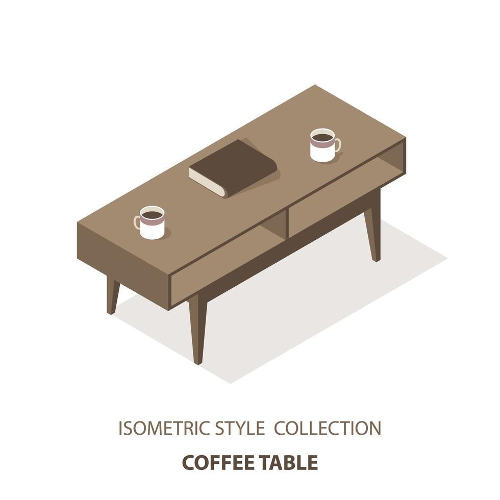 isometrische salontafel vector