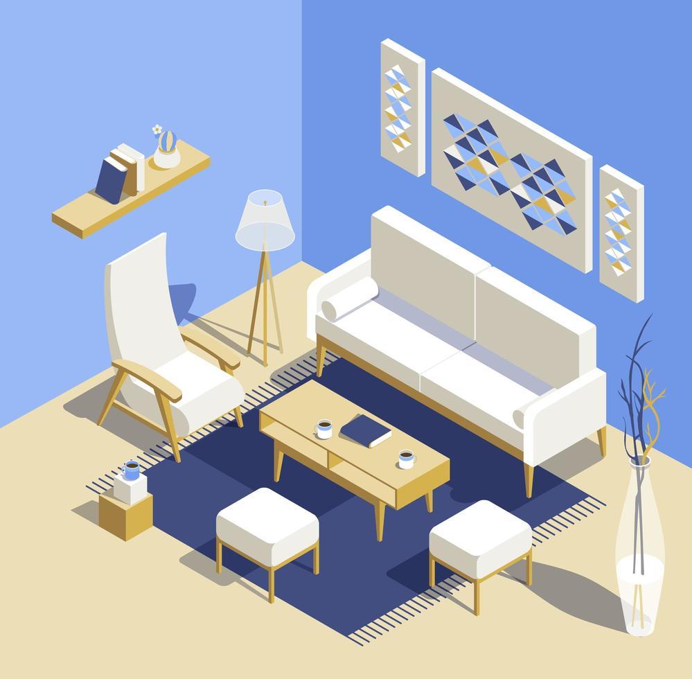 woonkamer isometrische gedetailleerde set vector