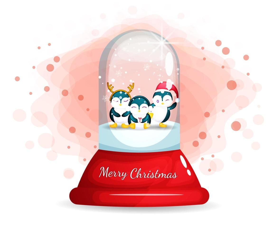 schattige pinguïns in glazen cloche voor eerste kerstdag vector